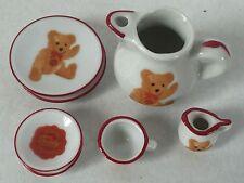 Vintage Reutter Hermann Teddy Original Miniature Mini Porcelain Tea Set Germany