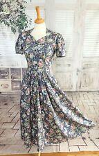 Vintage LAURA ASHLEY Purple floral Cotton dress size 8