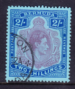 BERMUDA GVI SG116f 2/- reddish-purp & blue on pale blue ord paper P13 f/u cat£38
