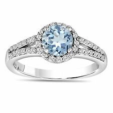 AQUAMARINE AND DIAMONDS ENGAGEMENT RING 14K WHITE GOLD 1.20 CARAT HANDMADE HALO