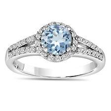 AQUAMARINE AND DIAMONDS ENGAGEMENT RING 14K WHITE GOLD 1.20 CARAT HANDMADE HALO