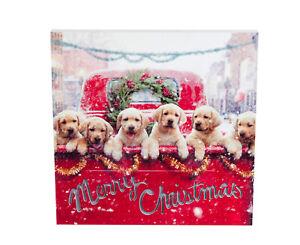 Farm Truck Puppies LED Canvas Wall Art Merry Christmas