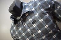 37048 Mens Harley Davidson Motorcycle Plaid Metal Button Up Shirt Size Medium