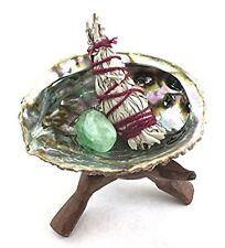 Abalone Shell Smudge Kit: Wooden Tripod White Sage Stick Fluorite Tumbled Stone