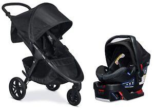 Britax B-Free Stroller & B-Safe Ultra Car Seat Travel System Cool Flow Grey New!