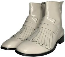 Jeffrey Campbell Baron Womens 10 Ivory Patent Leather Fringe Boots WORN ONCE!