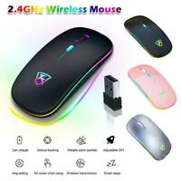 2.4GHz Wireless Optical Mouse Mice USB Rechargeable LED For Computer