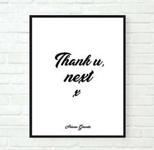 PREMIUM ART PRINT POSTER Ariana Grande Thank u Next Music Lyric Quote Typography