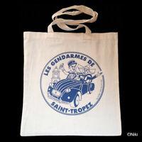 Tote Bag sac coton shopping étudiant Les gendarmes de Saint-Tropez porté épaule