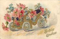 Vintage Automobile Filled With Pink Mums~Blue Forget-Me-Nots~Gold Leaf Embossed