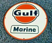 """VINTAGE """"GULF MARINE BOAT MOTOR GAS"""" 11 3/4"""" PORCELAIN METAL GASOLINE & OIL SIGN"""