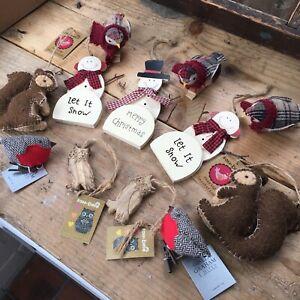 12 Gisela Graham Rustic Chic Wooden Felt  Christmas Snowman Bird Decorations