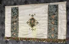 Antique French Silk Hand Embroidery Mass Christian Vestment Chasuble Panel 19thC