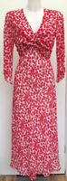 BNWOT New Roman Red White Floral Leaves Tie Back Lined Midi Maxi Dress 10 to 12
