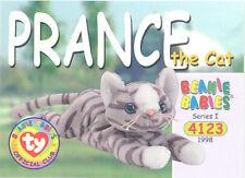 ec81b6c9d13 TY Beanie Babies BBOC Card - Series 1 Common - PRANCE the Cat - NM