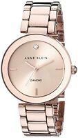 Anne Klein Womens Rose Gold-Tone Diamond-Accented Bracelet Watch