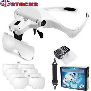Lightweight Magnifying Glasses Headset LED Light Head Headband Magnifier 5 Lens