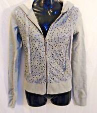 NWT Plush and Lush Women' Gray Hoodie Sequin Casual Zipper Sweatshirt X-Small