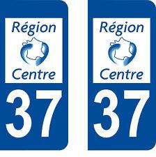 Département 37 sticker 2 autocollants style immatriculation AUTO PLAQUE Centre
