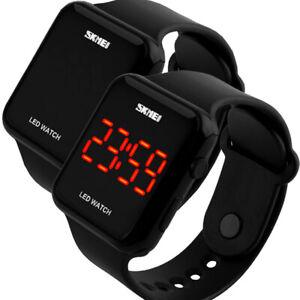 Armbanduhr LED Digital Uhr Quarzuhr Silikon Herren Frauen Uhr Schwarz