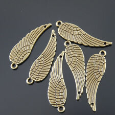 **38622 Antique Style Bronze Wing Feather Connector Alloy Charm Pendant 12pcs