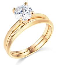 1.30 Ct Round Cut Engagement Wedding Ring Set Real 14K Yellow Gold Matching Band