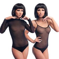 SEXY WOMEN BODYSUIT BLACK LEOTARD TURTLENECK LONG SLEEVE NET BODY SUIT LINGERIE