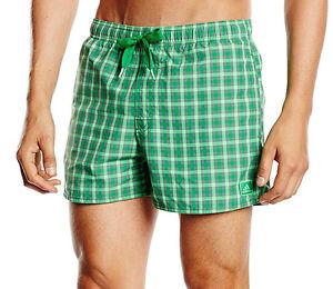 Mens Adidas Swim Beach Swim Swimming Board Shorts Summer Holidays Green Check