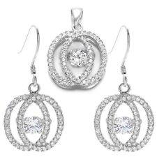925 Sterling Silver 3.21 Carat CZ Overlapping Ovals Pendant and Earring Set