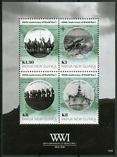 Papua New Guinea PNG 2014 MNH WWI WW1 World War I 4v M/S Battleships Stamps