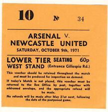 Ticket: Arsenal v Newcastle United 9/10/1971