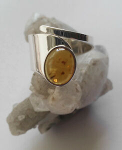 604 Amber Solid 925 Sterling Silver Open Band Gemstone Ring sz O/R rrp$89.95