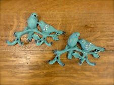 SET OF 2 BLUE METAL JEWELED BIRD HOOKS rustic vintage shabby chic wall art decor