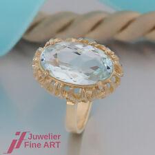 RING - mit 1 Aquamarin - hellblau - 14K/585 Gelbgold - Ring Handarbeit