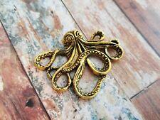 1 Large Octopus Pendant Connector Antiqued Gold Steampunk Kraken Charm 43mm
