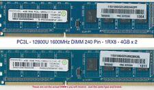 8GB - (2) 4GB 1Rx8 PC3L-12800U DDR3 DIMM RAM 240 pin RMR5030ME68F9F-1600 RAMAXEL