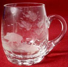 """QUEEN LACE crystal AMERICAN WILDLIFE series BOAR pattern BEER MUG 4-1/2"""""""
