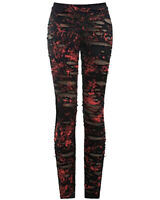 Punk Rave Womens Dieselpunk Goth Grunge Leggings Black Red Cross Torn Destroyed