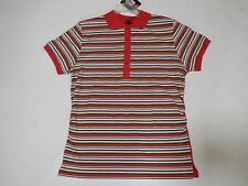 Women's Old Skool Red Collar Shirt with Green and White Stripes Size XL