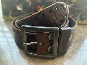 Abercrombie & Fitch~Men's Brown Leather Belt~ Woven Details~Silver Buckle~Sz 34