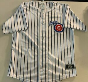 Iowa Cubs Home Baseball Jersey - White Pinstripes Embroidered Logo MiLB - NEW