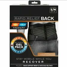 Copper Fit Rapid Relief Back Lumbar Support Brace With Hot/Cold Gel Pack S/M