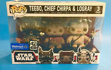FUNKO POP STAR WARS TEEBO CHIEF CHIRPA LOGRAY WALMART EXCLUSIVE 3 PACK