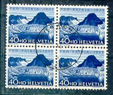 Schweiz Pro Patria 1952 Höchstwert im Viererblock gestempelt