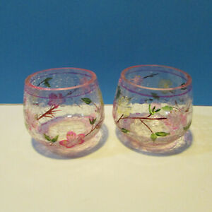 yankee candle crackled pink glass votive holders set of 2
