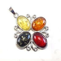 BALTIC AMBER GEMSTONE 925 STERLING SILVER PLATED PENDANT JEWELRY #SJPT-1006FX