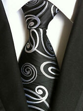 (NT148) MenWithTie Silk New Black Jacquard Men Necktie Formal Wedding Office Tie
