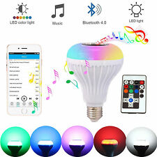 LED Wireless Bluetooth Bulb Light Speaker 12W RGB Smart Music Play Lamp + Remote
