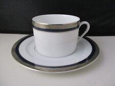 """DESHOULIERES ATHOS BLUE CUP & SAUCER 2 1/8"""" -1406C"""