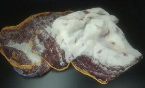 Georgine von Etzdorf Cream Burgundy Mustard trim Crinkled/Sheer Silk Scarf   A05
